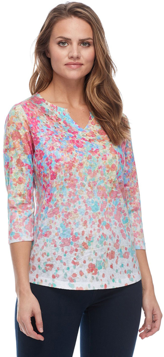 Floral Print Notched Crew Neck Top