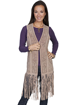 Scully - Laser cut Leather Fringe Long Vest