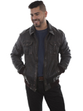 [Mens Scully Sanded Calf Rugged Leather Jacket]