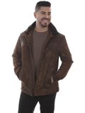 [Mens Scully Suede and Trail Leather Trim Jacket]