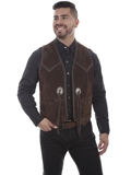 [Scully Mens Boar Suede Hand Laced Concho Vest]