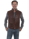 [Scully Mens Hand Finished Lamb Leather Quilted Vest]