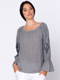 [XCVI� Clothing Isabel Stripe Gauze Blouse]