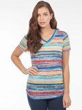 [FDJ French Dressing� Sunrise Stripe V-Neck Top]