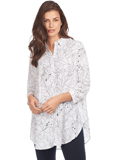 [FDJ French Dressing� Linear Lily Print Oversize Blouse]