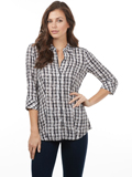 [FDJ French Dressing� Women's Painterly Plaid Blouse]