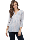 [FDJ French Dressing� Women's Speckled Stripe Popover Blouse]