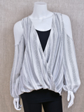 [Mystree Wrap French Stripe Cold Shoulder Blouse]