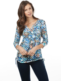 [FDJ French Dressing� Women's Ikat Print Notched Crew Top]