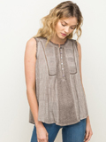 [Mystree Sleeveless Wash Top with Pleated Panel]