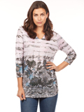 [FDJ French Dressing� Leafy Geo Print Notched Collar Top]