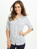 [FDJ French Dressing® Cubic Print Tab Up Sleeve Tunic Blouse]