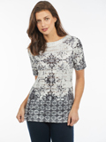 [FDJ French Dressing� Moroccan Tiles Print Boatneck Top]