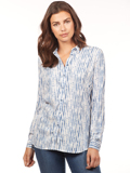 [FDJ French Dressing� Hazy Stripe Blouse with Button Detail]