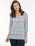 [FDJ French Dressing� Paisley Print Pullover 3/4 Sleeve Blouse]