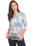 [FDJ French Dressing� Abstract Print Notched Crew Top]