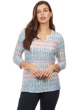 [FDJ French Dressing� Textured Horizon Notched Crew Top]