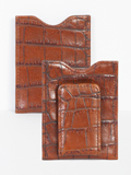 [Scully Crocodile Embossed Leather Open Pocket Credit Card Holder with Magnetized Money Clip]
