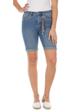 [ FDJ French Dressing� Olivia Bermuda Embroidered Mid-Rise Shorts]
