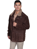 [Mens Scully Men's Boar Suede Frontier Double Collar Zip and Snap Leather Coat]