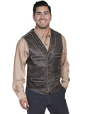 [Scully Men's Sanded Calf Leather Vest]