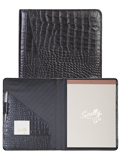 [Scully Crocodile Embossed Premium Calf Leather Letter Pad]
