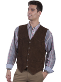 [Scully Mens Men's Calf Suede Snap Front Western Vest]