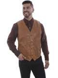 [Scully Mens Lamb Leather Pick Stitch Vest]