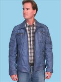 [ Men's Scully Men's Washed Lamb Zip Front Zip Pockets Leather Jacket]