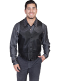 [Scully Mens Lamb Leather Vest with Ostrich Trim]