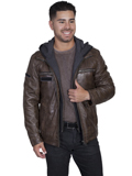[Mens Scully Men's Vintage Lamb Leather Jacket with Zip Out Front and Hood Insert]