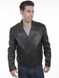 [Mens Scully Men's Lamb Leather Concealed Carry Motorcycle Jacket]