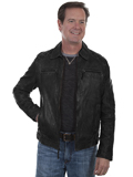 [Mens Scully Washed Lamb Leather Zip Front Jacket with Quilt Design Shoulders]