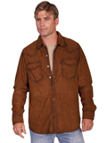 [Scully Mens Men's Lamb Suede Western Pearl Snap Shirt]