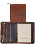 [Scully Crocodile Embossed Leather Zip Weekly Organizer]