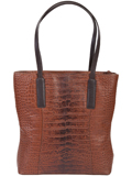[Scully Crocodile Embossed Leather Claea Handbag]