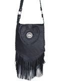 [Scully Full Flap Leather Fringe Whipstitch Heart Handbag with Concho and Studs]