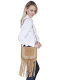 [Scully Suede Full Flap Fringe Handbag with Studs and Braided Trim]
