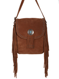 [Scully Cow Suede Leather Fringe and Concho Handbag]