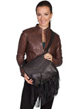 [Scully Women's Leather Handbag with Studded Flap and Fringe]