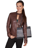 [Scully Women's Tooled and Studded Bolero Leather Handbag]