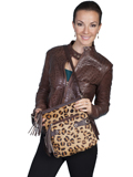 [Scully Animal Print Handbag with Stud and Tassel Detail]
