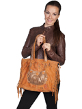 [Scully Vintage Leather Handbag with Knotted Fringe]