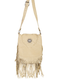 [Scully Full Flap Leather Handbag with Concho and Fringe]