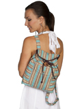 [Cantina by Scully Turquoise Stripe with Brown Piping and Trim Backpack]