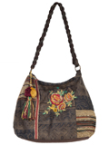 [Cantina by Scully Floral Embroidery Decorative Tassel Handbag]