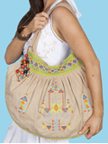 [Cantina by Scully Tan Beaded and Embroidered Folk Art Design Handbag]