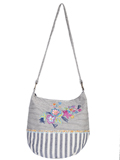 [Cantina by Scully Multi Colored Floral Embroidered Striped Handbag]