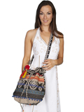 [Cantina by Scully Black Aztec Design Loose Weave with Beaded and Sequins Accents Body Bag]