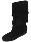 [Minnetonka 3 Layer Fringe Suede Boot]